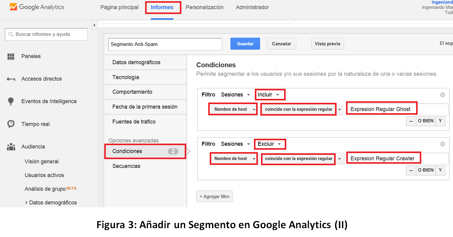 Segmento Anti Spam en Google Analytics