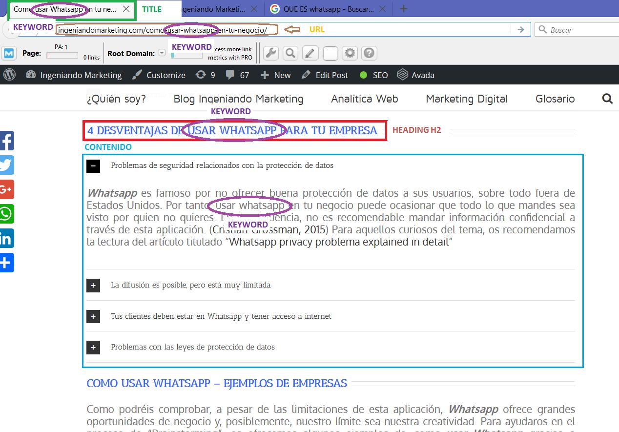 Keywords en URL Página web