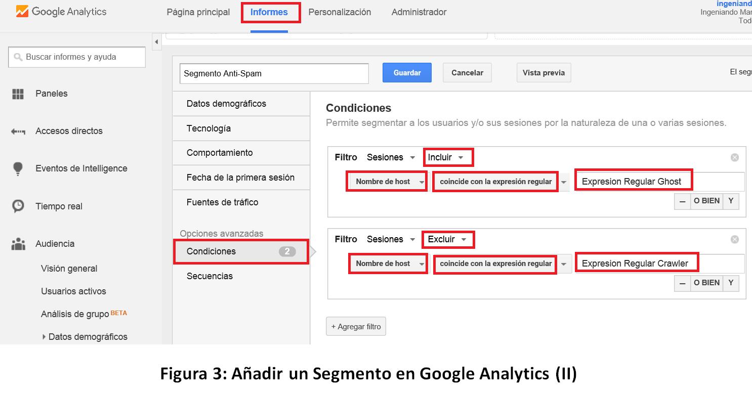 Segmento Anti Spam en Google Analytics